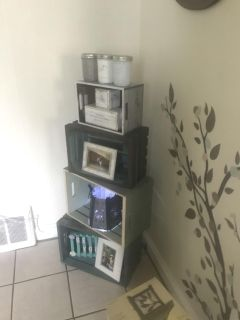 Hand painted crates used as shelving