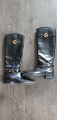 Tory Burch Black Leather Knee High Riding Boots