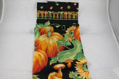 LINENS and CLOTHING: pumpkin towels, doilies, Red and green napkins