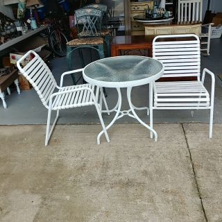 Nice Table with 2 Strapped Chairs. 30 round. Height 28
