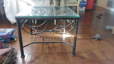 Rod Iron Glass Top Side Table