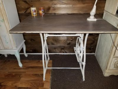 Desk or vanity made from sewing machine stand