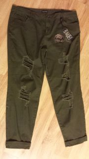 NWT, Womens Boyfriend ankle pant. Color is green. Size is 13/14.