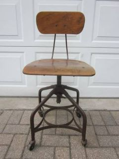 UHL Toledo Drafting Stool Chair Steam Punk Industrial Wood Steel ANTIQ