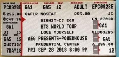 BTS Love Yourself World Tour 2018 GA Tickets