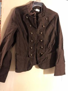 Brown military style jacket size 12