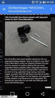 For Sale: Draco/Mini/Micro folding stock adapter