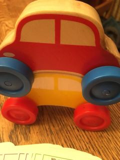 Wooden stacking car set and toddler brain quest game