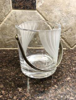 Crystal ice bucket with Silvertone handle, and modern decanter.