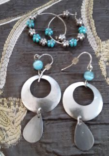 2 pairs TURQUOISE accent EARRINGS