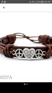 SUMMER SALE NEW HEARTS and PEACE SIGNS Leather Charm Bracelet