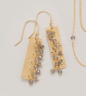 14 Karat Gold Plated Textured Rectangle and Bead Earrings