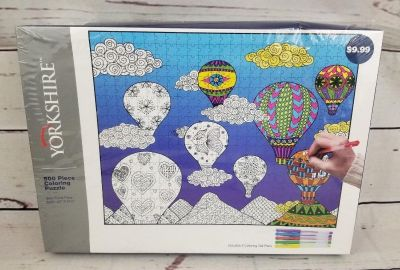 #1 Hot air Balloon Coloring Puzzle - 500 Pieces - Yorkshire w/5 Gel Pens