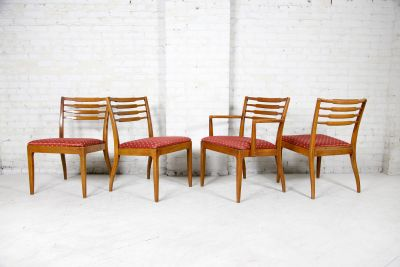 vintage set of 4 low back solid wood chairs