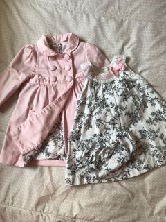 12 Month Dress, Bloomers, and Overcoat