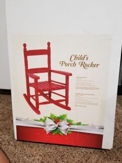 Childs red wood rocking chairs