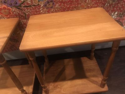 Wood two-tier side table