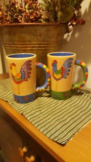 Pair new lg rooster mugs
