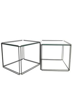 Max Sauze Isocele Wire & Glass Cube Side Tables