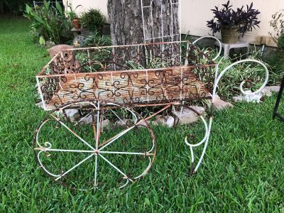 Antique rod iron tea cart