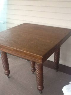 Antique Farmhouse Kitchen Dining Table, Tiger Oak, 1890
