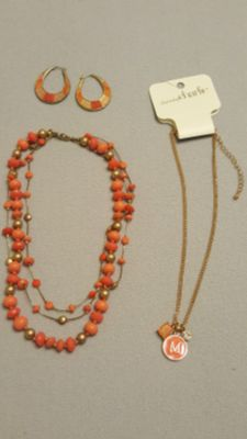 Coral and Gold Jewelry Set