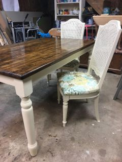 Refurbished off white table & chairs