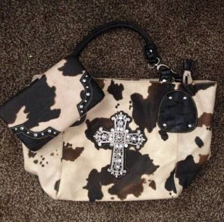 Cow print purse and wallet