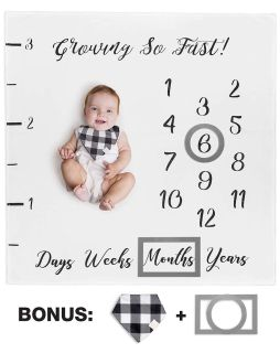 NWT Baby Monthly Milestone Blanket for Boy Girl Unisex + Bib and Frame Markers