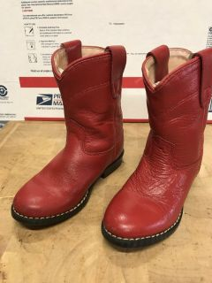 Kids Red Cowboy Western Leather Roper Boots SZ Kids 7