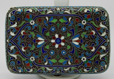 Antique Pre Russian Revolution Cloisonne Hand Engraved Silver Cigarette Case