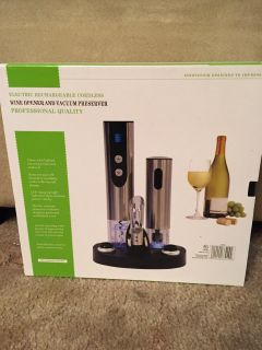 Stainless Steel Electric Wine Bottle Opener and Preserver Set