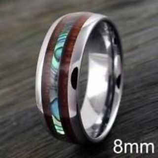 New Men's Size 12 and 13, Wood and Abalone Ring