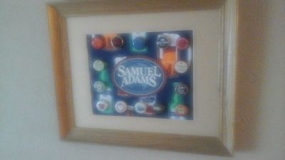 Framed Bar Or Man Cave Samuel Adams Coaster W/ Beer Bottle Caps