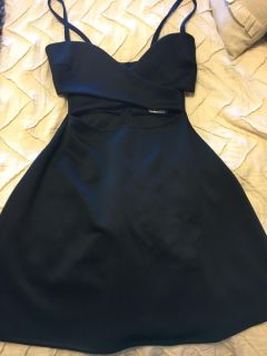 Black dress size small open on top