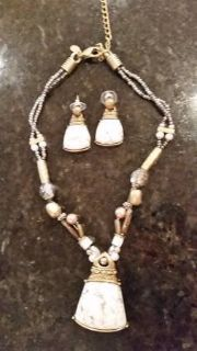 Necklace and Earrings - Gold and white tones with beads from Chicos