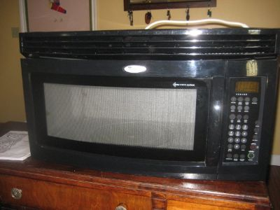 Black Whirlpool Gold Accuwave System Over the Stove Microwave