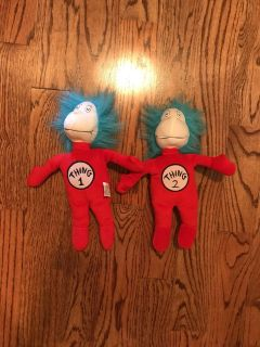 Thing one and thing two stuffed animals
