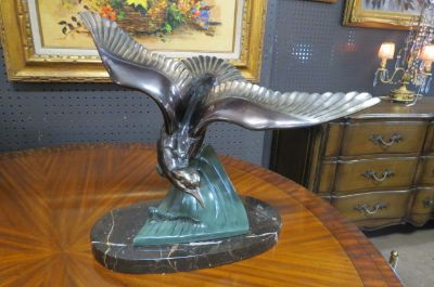 SALE! Vintage Art Deco metal bird sculpture