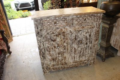 1920's Vintage White Chest Sideboard Side Table