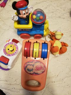 Toy lot. Vintage mickey train, tigger, camera and toy