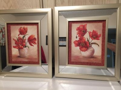 Pair mirrored framed pictures. Hernando cross posted