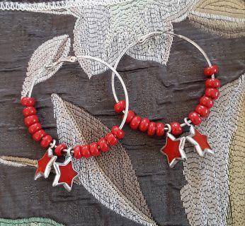 RED HOOP STAR EARRINGS 2 INCHES
