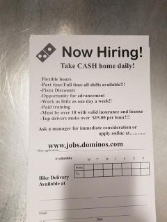 Now Hiring delivery drivers and csr