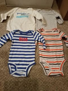 SET OF 4, 3M, CARTER ONESIES, EXCELLENT CONDITION, SMOKE FREE HOUSE