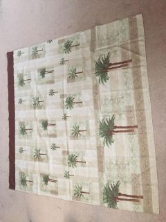 Palm tree shower curtain and hooks