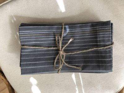 Set of 8 Trendy Bistro 100% Cotton Napkins in Yard-Dyed Charcoal Grey Pinstripes