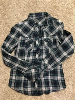 Gap XS plaid button down with small ruffle trim. $5