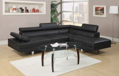 SALE! CONTEMPORARY BLACK LEATHER SOFA CHAISE SECTIONAL! NEW!