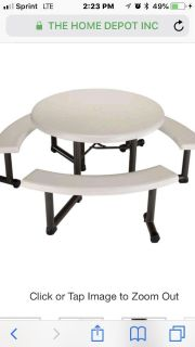 Lifetime 44 in. Round Picnic Table with 3 Benches